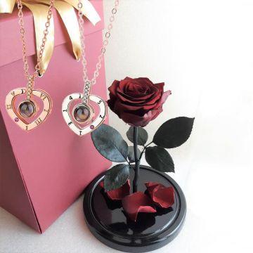 Роза М с коробкой и кулоном